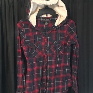 Cute plaid button downs. With fur lined hoodie